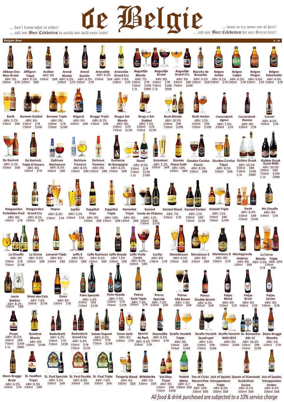 Draught Belgian Beer Menu