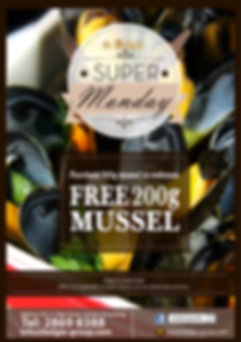 FREE 300g Mussel of your choice can be redeemed on Mondays if spend up to HK$198.