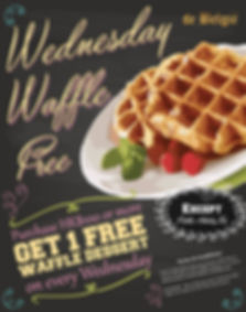 On every Wednesday, get 1 free waffle dessert if purchase HK$100 or more at de België - Bar & Restaurant.