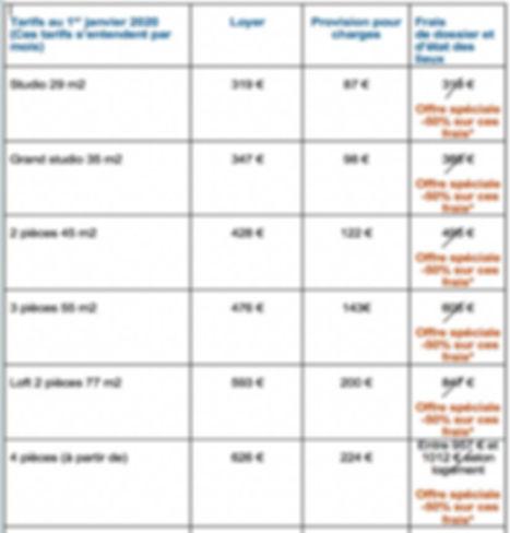 tarifs location appartements Studel Poit