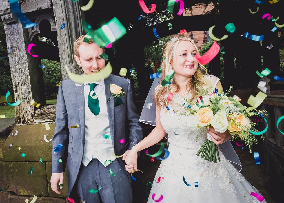 Confetti at a Church Wedding Yorkshire