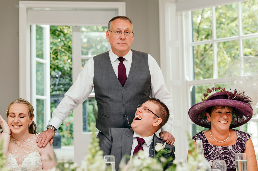 Father of Bride gives speech at Statham Lodge Wedding Cheshire