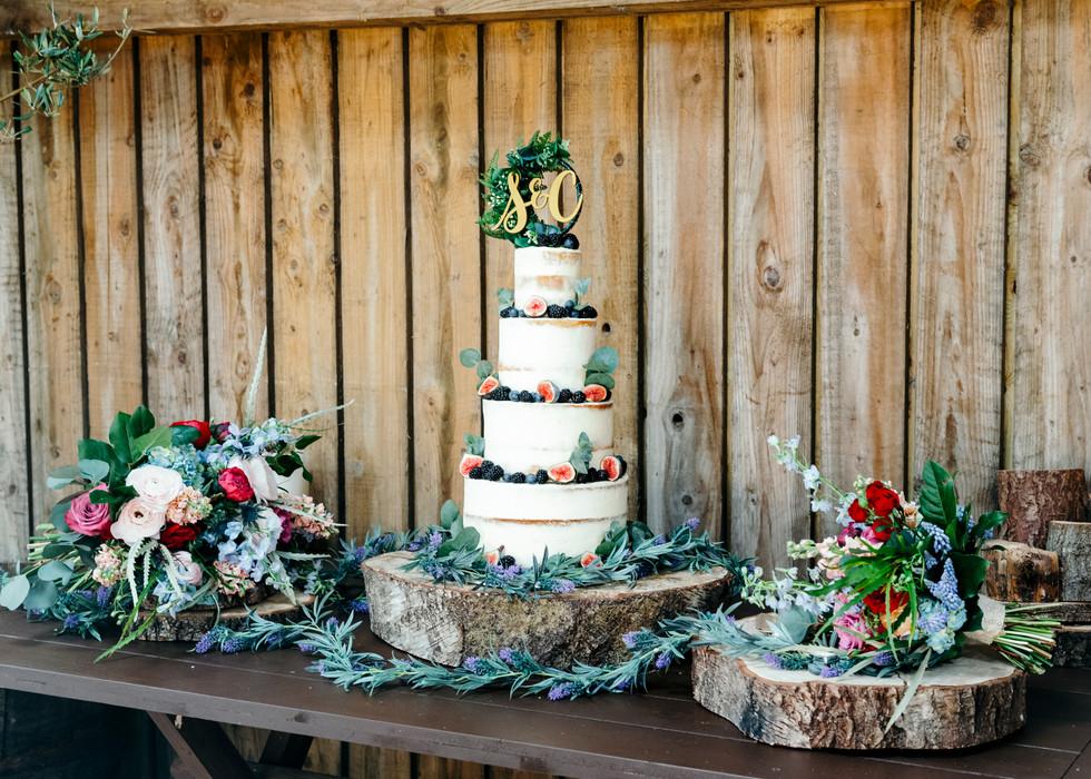 Wedding Cake at Cheshire Woodland Wedding. Figs and Flowers