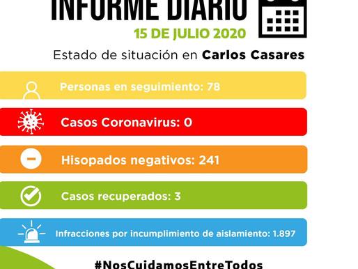 COMUNICADO OFICIAL - MIÉRCOLES 15 DE JULIO - SITUACIÓN DE COVID-19 EN CARLOS CASARES