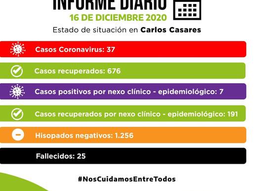 COMUNICADO OFICIAL - MIÉRCOLES 16 DE DICIEMBRE - SITUACIÓN DE COVID-19 EN CARLOS CASARES