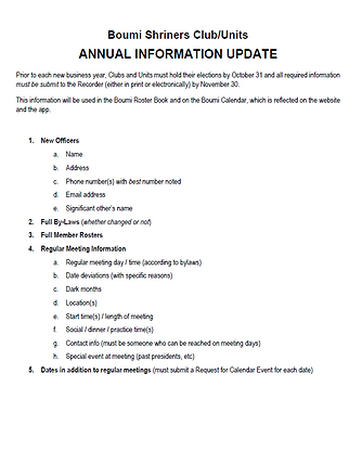 club.unit annual information update form