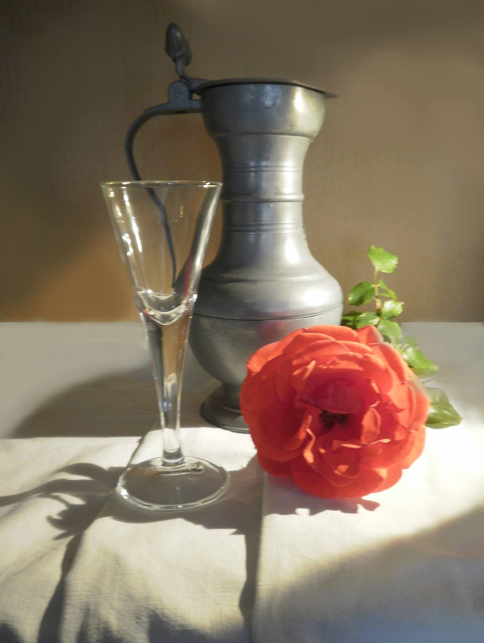 Rose and Metal Pitcher