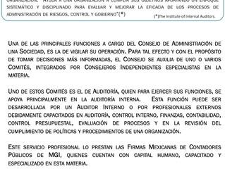 La Función de Auditoría Interna,  el Gobierno Corporativo y  la Vigilancia de las Sociedades