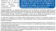 La Autoridad Fiscal Podrá Presumir Transmisión Indebida de Pérdidas Fiscales.