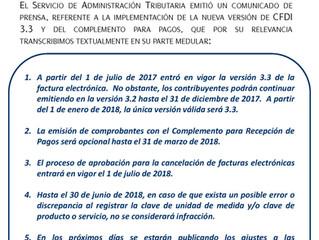 Se difiere la expedición obligatoria del comprobante fiscal digital 3.3