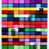 """Color Study I: Center square for the win (2011),  Lee filters swatches, thread, sequins, glass beads, marker, rag paper,  12"""" x 12"""""""