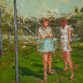 """streamers in the park, oil on panel, 9"""" x 12"""", 2010"""