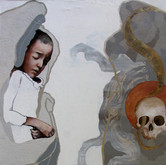 """The Taste of Ashes Oil on silk print mounted to panel  33.5"""" x 60"""""""