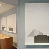 """Discrete Entrance (Drawing Installation and Detail) 2011 Height: 58"""" Pencil and House Paint on Paper"""