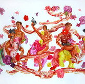 """G.I. Joes and Bacon Wreath Watercolors on paper 24"""" x 38"""""""