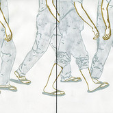 "Erma Series: The Long Walk, 2012, 12""x24"", mixed media drawing on paper"