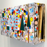 """Kudzu Jungle (install) 2011 Acrylic and Collage on Constructed Panel 24"""" x 36"""" x 12"""""""