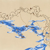 """Blue.  42""""x 120"""".  2011. Mineral pigment, micro pigment pen, walnut ink and tea on paper."""