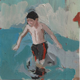 "Boy with flag, 8x8"", Oil on Canvas, 2009"
