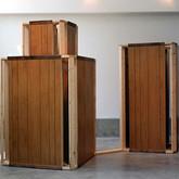 "Family Secrets (2011),  2"" x 4""s, wood paneling,  96"" x 120"" x 56"""