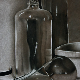 """Drawing II, Project: Still-life, Reflective and Clear Objects Charcoal, Conté 18"""" x 24"""""""