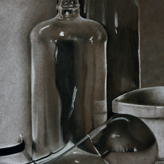 "Drawing II, Project: Still-life, Reflective and Clear Objects Charcoal, Conté 18"" x 24"""