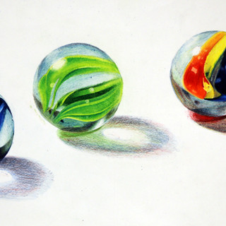 """Drawing II Project: Reflective Qualities and Shadow Study Medium: colored pencil (no black allowed) on Strathmore Size: 9"""" x 12"""""""
