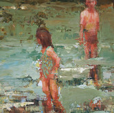 """at the lake, oil on panel, 12"""" x 36"""", 2010 detail"""