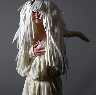 "3D Design, Project: Paper Mask Medium: paper, adhesive Size: 22 x 28"" x 26"""