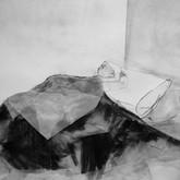 Title: Thin Walls: Sleeping Child Medium: charcoal, paper Size: 3' x 4'
