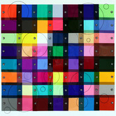 """Color Study II: Hanging Chads (2011),  Lee filters swatches, thread, sequins, glass beads, marker, rag paper,  18"""" x 18"""""""
