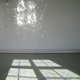 Untitled, from studio in Trondheim, Norway, 2009, Round mirrors on the floor reflected sunlight onto the studio wall.