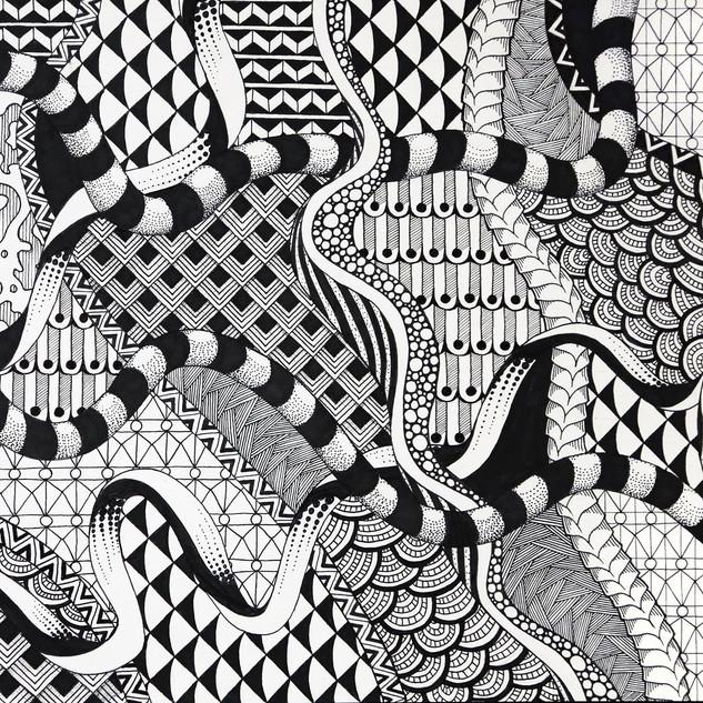 "2D Design, Project: Imaginary Landscape, Balance/Unity/Variety/Pattern Permanent Marker 12"" x 18"""
