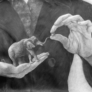 """Beginning Drawing, Project: Figure/Ground/Scale Graphite on Paper 22"""" x 30"""""""