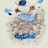 "Intueri III.  30""x 22"".  2011.  Mineral pigment, micro pigment pen and walnut ink on paper."