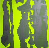 "Unusual Landscape (Variation with Yellow) mixed media on fluorescent yellow fabric 40"" x 35"", 2009"