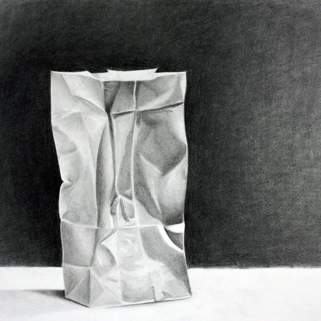 "Beginning Drawing, Project: Edge Without Line Investigation  Charcoal 18"" x 24"""