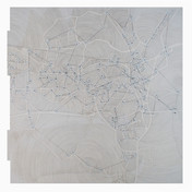 """An Array of Plausible Perspectives: #17 Sceenprint, letterpress, colored pencil 30"""" H x 28"""" W 2010"""