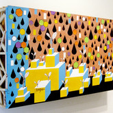 """Seedlings (install) 2011 Acrylic and Collage on Constructed Panel 24"""" x 56"""" x 7"""""""