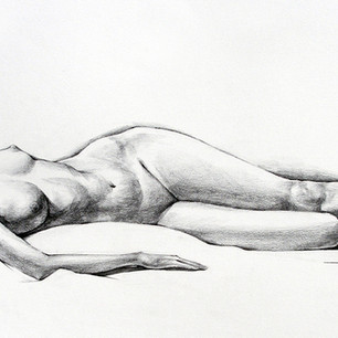"""Figure Drawing, Project: 120 Minute Study Graphite on Paper 14"""" x 30"""""""