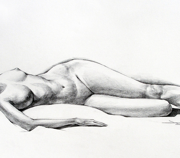 "Figure Drawing, Project: 120 Minute Study Graphite on Paper 14"" x 30"""