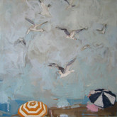 "Rockaway; gulls II, 24x24"", Oil on Canvas, 2009"