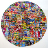 Well Rounded,  7ft dia., paper construct (hand pulled prints, paper ephemera, reclaimed paper)