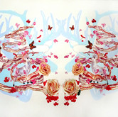 """Bacon Wreath with Deer Watercolors on paper 28"""" x 34"""""""