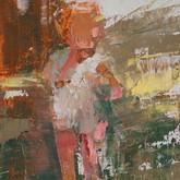 "little study boy standing, oil on panel, 2"" x 3.25"", 2010"