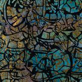 "Eutrophication I acrylic and metal leaf on canvas 30"" x 30"" 2011"