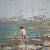 """lonely beach, oil on linen, 16"""" x 12"""", 2010"""