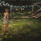 """night lights, oil on linen, 5"""" x 7"""", 2010"""