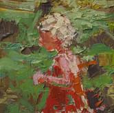 """little study emily hord, oil on panel, 2"""" x 3.25"""", 2010"""