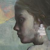 "Evado Oil on panel.  (detail) 20"" x 48"" 2009"